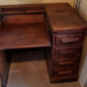 Value of an Old Desk from the Derby Desk Company - drop down writing and work surface plus 4 drawers