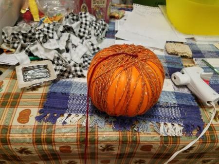 Yarn Covered Pumpkin - wrap and glue yarn to the pumpkin