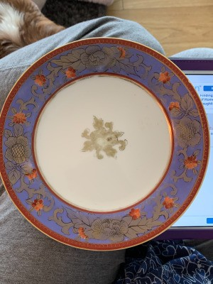 Identifying Noritake China - dinner plate with a blue band around the edge with a floral pattern