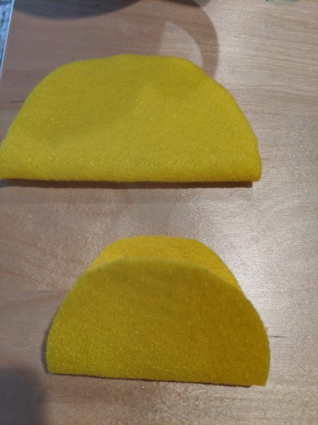 Halloween Taco Accessories for Adults - cut taco shells from yellow felt, one large and one small