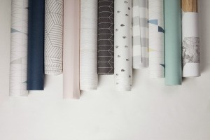A variety of different wallpaper rolls.