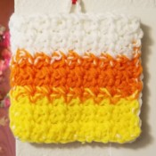 Candy Corn Hot Pad - hanging candy corn colored hot pad