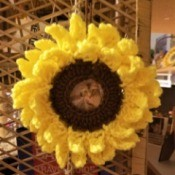 Sunflower Photo Frame - sunflower photo frame hanging on a hook