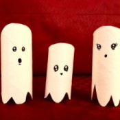 Cardboard Tube Ghosts - mommy, daddy, and baby ghost