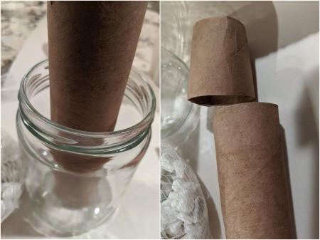 Succulent Jar Centerpiece - place paper towel roll in jar and determine height needed