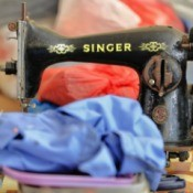 An old Singer sewing machine.