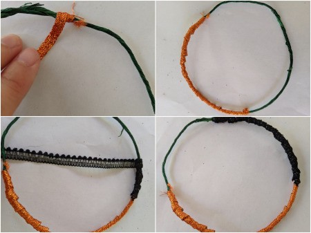 Hanging Halloween Themed Hoop Decoration - cover the wire circle with sticker ribbon