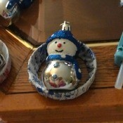 Handcrafted Christmas Ornaments - glue snowman ornament to the ring on the inside