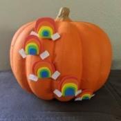 Mini Rainbows Decorated Pumpkin - finished pumpkin