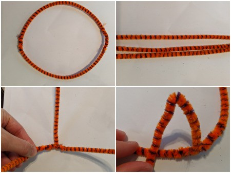 How to Make A Pipe Cleaner Crown - collage of the first two steps