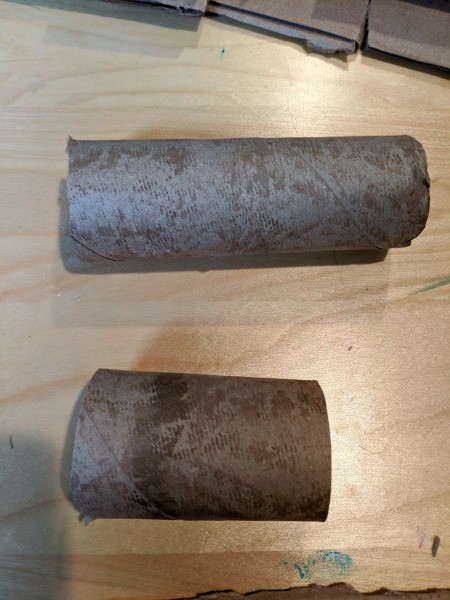 Blowing Fire Costume Accessory - paper towel tubes in two lengths