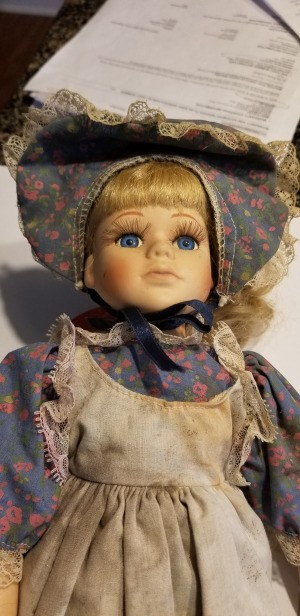 Value of a Goldenvale Collection Doll - doll wearing a floral print dress with tan pinafore and matching floral head scarf