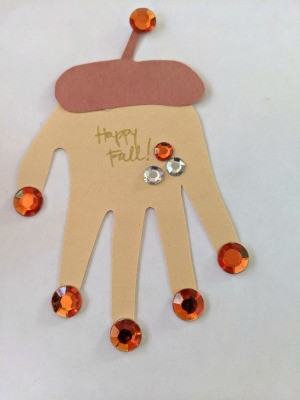 Happy Fall Handprint Acorn Craft - finished craft