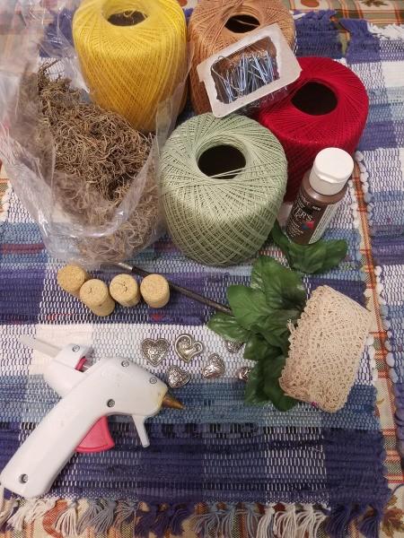 Crochet Thread Spool Pumpkins - supplies