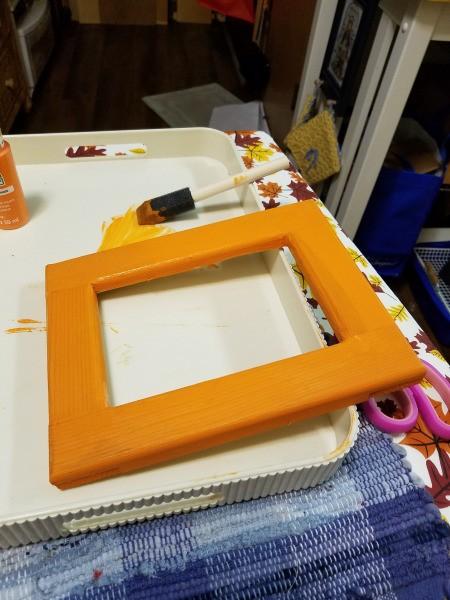 Yarn Wrapped Frame - orange frame front and sides