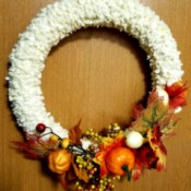 Making a Disassemblable Fall Leaf Wreath - finished wreath hanging