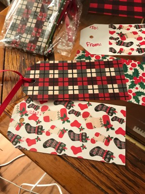 Handmade Gift Tags - examples of tags and a packaged bag in upper left, partially seen