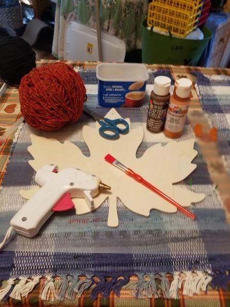 Yarn Embellished Wooden Maple Leaf - supplies