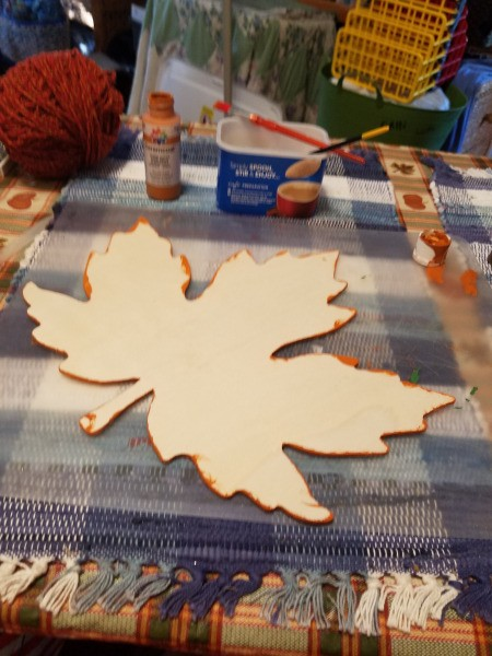 Yarn Embellished Wooden Maple  Leaf - sand any rough spots with an emery board or sand paper and paint edges