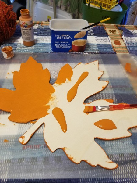 Yarn Embellished Wooden Maple Leaf - paint the top, two coats