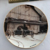 Value of 'The Gathering' Collectors Plate  - barn with wagons in front and a horse