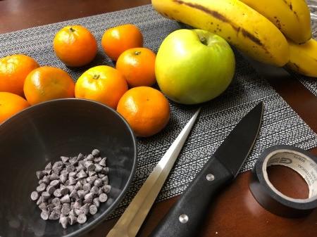 Making a Halloween Fruit Display - supplies