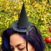 Mini Witch Hat Headband - young woman wearing the mini witch hat