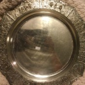 Identifying and Value of a Silver Tray - round tray with ornate edge