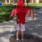 Boy's Dragon Halloween Costume - young boy wearing the costume, viewed from the back to see head scale spikes, wings, and tail