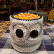 Yarn Wrapped Coffee Can Mummy Candy Dish - finished candy dish