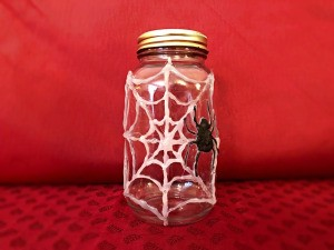 Hot Glue Spiderweb Jar - finished empty jar