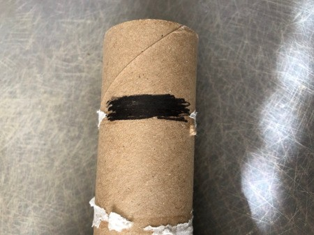 Cardboard Halloween Napkin Rings - draw a black rectangle near the top of the tube