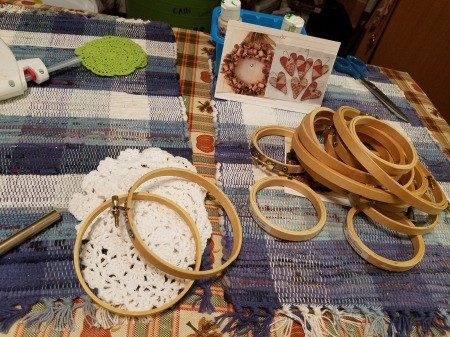 Embroidery Hoop Doily Wall Decoration - supplies