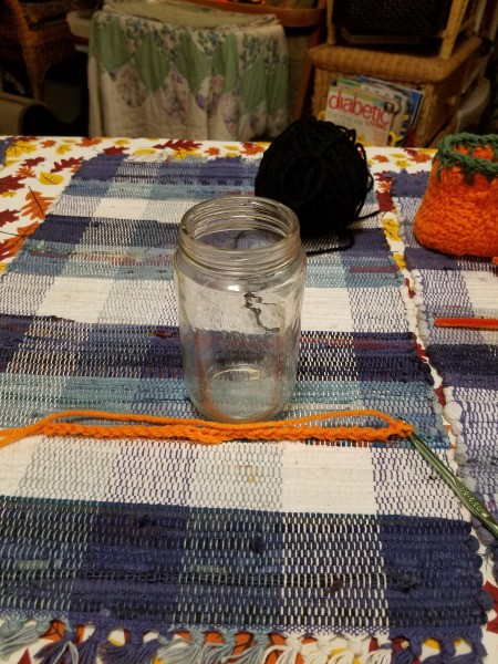 Crocheted Pumpkin Candy Jar Cover - supplies