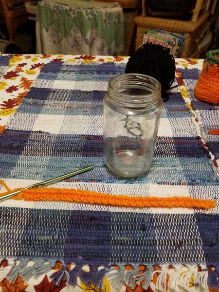 Crocheted Pumpkin Candy Jar Cover - chain and first row of knit stitch
