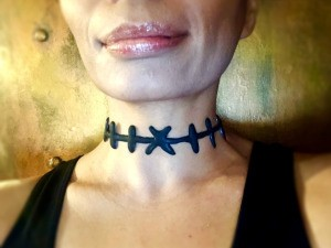 DIY Stitches Choker Necklace - necklace on woman's neck