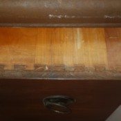 Value of a Vintage Dixie Dresser - peek at dresser and looking at joining in drawer