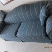Value of a Vintage Lazy Boy Signature II Sofa - blue striped sofa