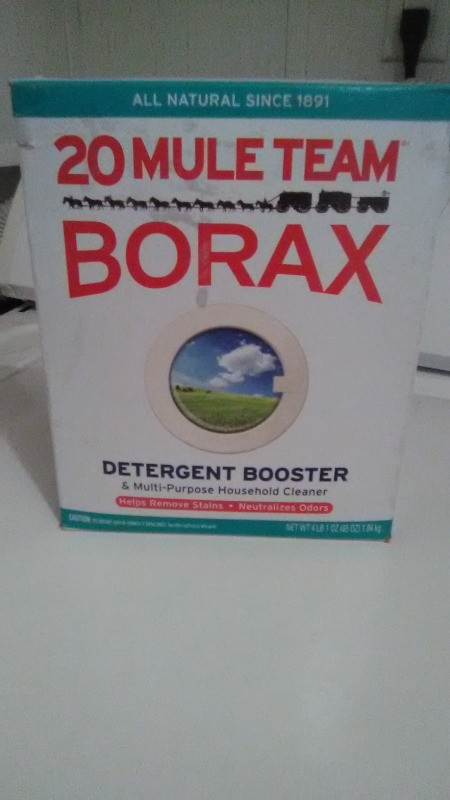 A box of 20 Mule Team Borax detergent booster.
