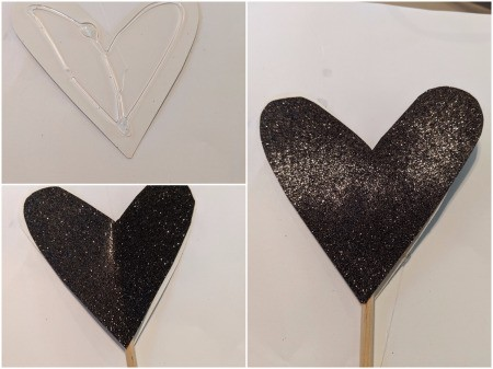 Fancy Costume Wand - glue chopstick in between the two hearts