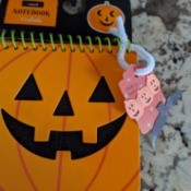 DIY Pumpkin and Bat Halloween Favor Tag - attach to mini Halloween notepad