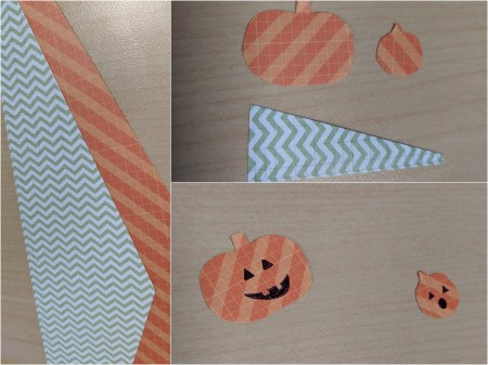 DIY Pumpkin and Ghost Halloween Favor Tag - draw and cut out pumpkins and decorate, also cut a triangle