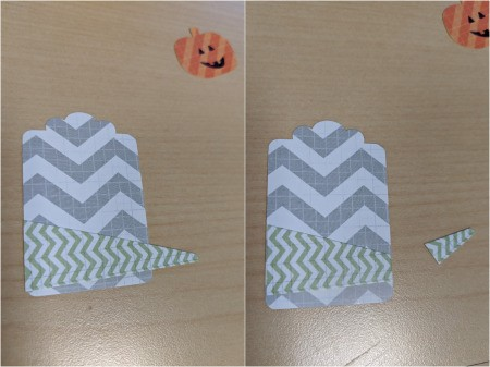 DIY Pumpkin and Ghost Halloween Favor Tag - arrange triangle and cut to fit the label, glue in place then add pumpkin shapes