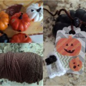 DIY Pumpkin and Ghost Halloween Favor Tag - collage photo fo mini pumpkins, cord and tag tied to a pumpkin