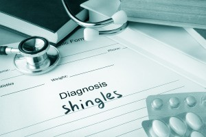 """Pad of paper that says """"Diagnosis: Shingles"""""""