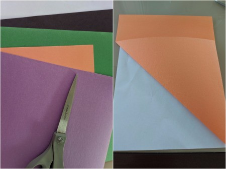Paper Web and Spider Toss Game - fold paper to form a triangle and trim off excess