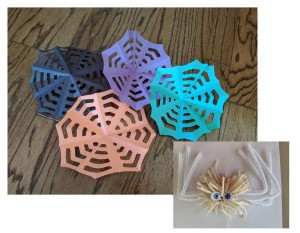 Paper Web and Spider Toss Game - finished web and spider, ready to play