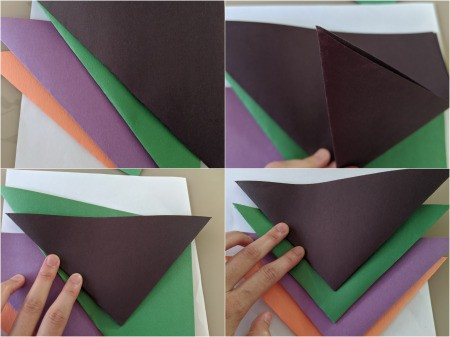 Paper Web and Spider Toss Game - fold up one corner to create a second triangle