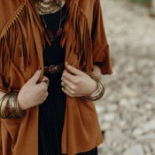 A fringed suede jacket.