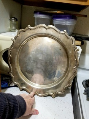Value and Pattern Name for a Sterling Silver Tray - tray propped up on a counter